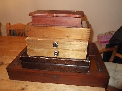Job Lot of 7 Wooden Old Vintage Boxes & Antique Display cabinets