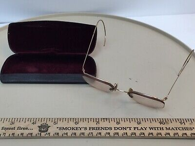 40051470b2fa Vintage Antique wire rim eye glasses spectacles 12K gold filled with case