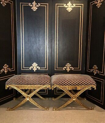 Pair of X Legs Neoclassical French Empire Ottoman