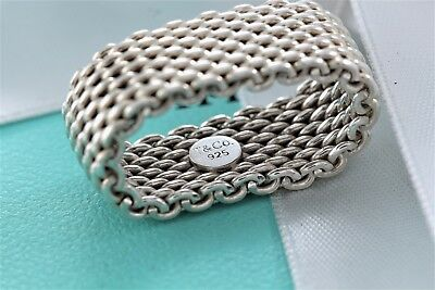 32d686ae5eb4a TIFFANY & CO. Sterling Silver Somerset Mesh Ring Size 6.5 w/ Box & Pouch