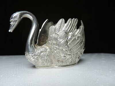Rare Antique Signed PERSIAN Islamic solid Silver Figural SWAN Dish Bowl 282 gr
