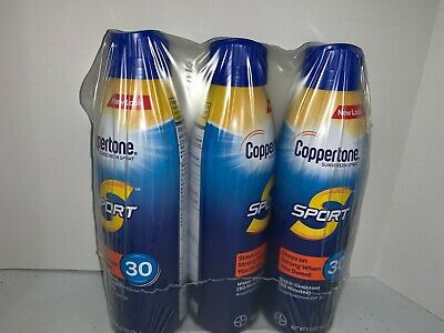 LOT OF 3 Coppertone Sport Continuous Spray Sunscreen SPF 30 NEW EXP 9/2019