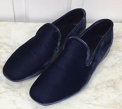 907c8a3b2fc VINCE Bray Smoking Loafers Slip Ons Flats Blue Velvet 7.5M Made In Italy NEW
