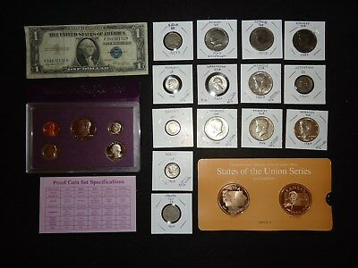 U.s  Coins, Silver, Proof Set, Currency & More    (W-2)