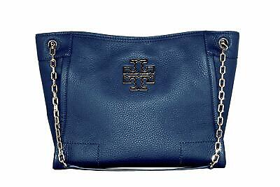 fbbd27a1bd15 Tory Burch Womens Hudson Blue Leather Brtitten Slouchy Tote Bag Purse  18626-1M