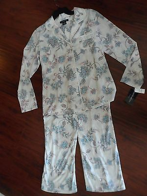 f2c4cf81d0  NWT  EARTH ANGELS Long Sleeve Knit Ivory Floral PAJAMA Shirt Pant SET MSRP
