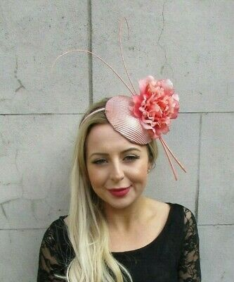Rose Gold Coral Peach Pink Peony Flower Pillbox Hat Hair Fascinator Races 7069