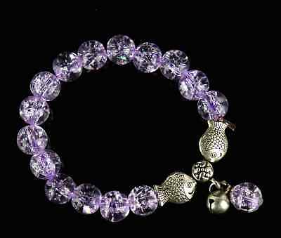Decor Natural Amethyst & Tibet Silver Carve Beads & Fish Delicate Girl Bracelet