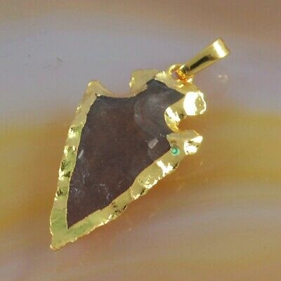 Hand Knapped Arrowhead Natural Jasper Pendant Bead Gold Plated T075530