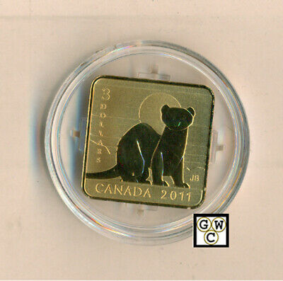 2011 Black Footed Ferret Conservation $3 Square Gold-Plated Silver Coin(12855)