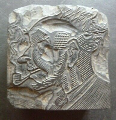 VINTAGE HAND CARVED LETTERPRESS PRINTING BLOCK. (MAN WITH PIPE) 5cm SQUARE X 2.3