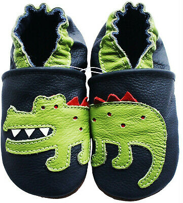 carozoo crocodile dark blue outdoor rubber sole leather shoes up to 4 years old