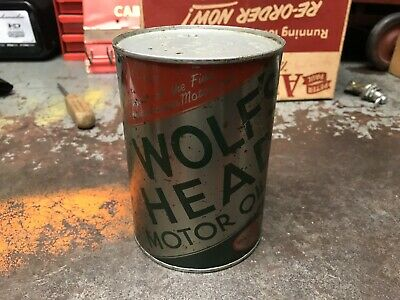 Wolf's Head Metal Full One Quart Oil Can! Antique! Vintage! Motor Oil