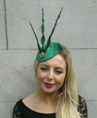 Emerald Forest Green Velvet Gold Pheasant Feather Hat Hair Fascinator Races 7078