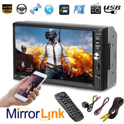 Double 2DIN 7in Touch Screen Car Stereo MP5 Player Bluetooth FM Radio Head Unit