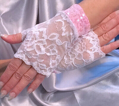 Madame Fantasy Lace Fingerless Gloves White Baby Pink Sequin Cuffs
