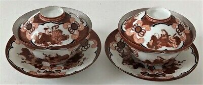 Pr Antique Asian Oriental Chinese Porcelain Gaiwan Tea Cups W/ Lids & Saucer Set