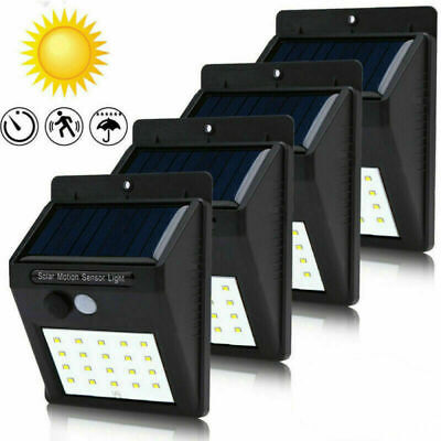 4x 30LED Solar Power Light PIR Motion Sensor Security Outdoor Garden Wall Lamp Z
