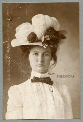 #446 No-Nonsense Portrait of a Edwardian Teen Girl, Vintage Antique Photo