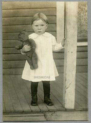 #448 Little Girl or Boy Holds a Mohair Teddy Bear, Vintage Antique Photo