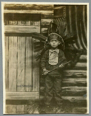 #449 A Makeshift Indian Boy in the ARCADE, Vintage Antique Photo