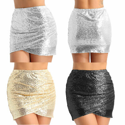 Women Ladies Shiny Sequins Ruched Tight Bodycon Mini Skirt Short Pencil Dress