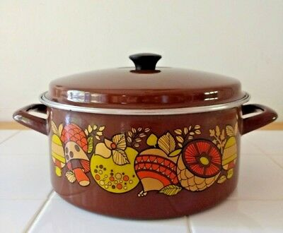 Vintage Brown Pot Mushrooms Vegetables Veg Enamelware 5 Quart Pan Lid Farmhouse