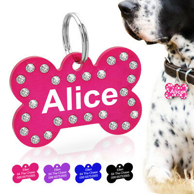 Engraved Dog Tags Cat Puppy Pet Personalized ID Name Collar Tags Bone Rhinestone