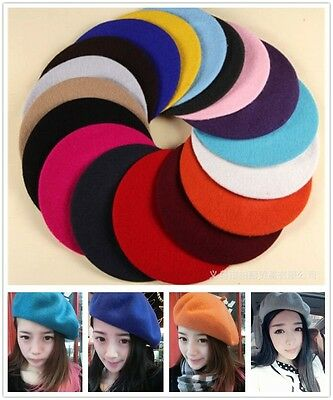 Lady Solid Color Wool Beret Cap Winter Autumn Warm Soft Hat Beanie French  Style 685ba48ee
