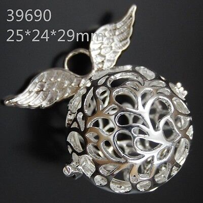 3pcs Silver Brass Angel Wings Pendant Round Shape Hollow Out Wish Ball Locket