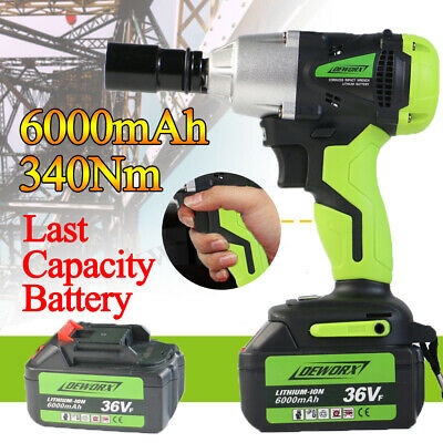 """Cordless Lithium-Ion 1/2"""" High Torque Impact Wrench Rattle Nut Gun Power Tools"""