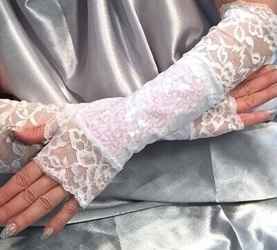 Madame Fantasy X Long White Fingerless Gloves Lace Cuffs Baby Pink Sequins