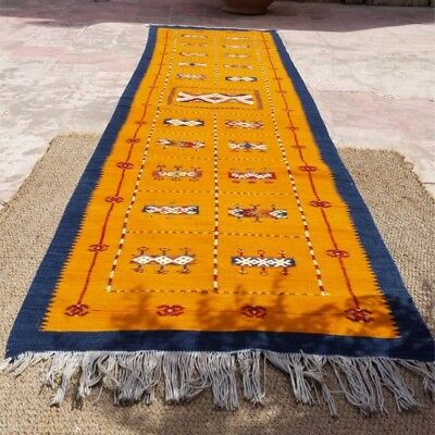 Moroccan kilim runner rug, handwoven, new 260cm x 65cm, ethically made