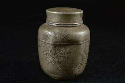 G8259: Japanese Tin sculpture TEA CADDY Chaire Container, auto Tea Ceremony