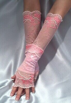 Madame Fantasy Long Sequin Fingerless Gloves Lace Cuffs Baby Pink