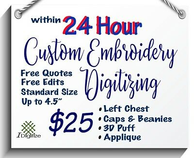 Embroidery Digitizing Service (within 24 hours)