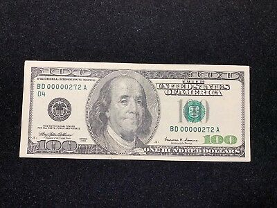 $100 Federal Reserve Note 1999 Low Serial Number 00000272 Vf