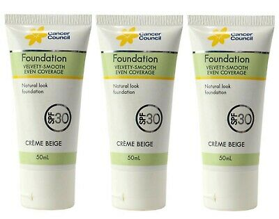 3 X CANCER COUNCIL 50mL FOUNDATION CREME BEIGE SPF+30 - NEW