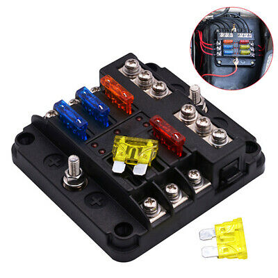 6 Way UTV Blades Fuse Box Block Cover 12V with LED Indicators for Car Auto Boat