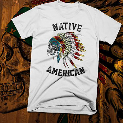 Native American Indian T-Shirt S-3XL, Warrior Chief Skull, indigenous tribes new