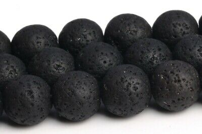 8MM Natural Black Volcanic Lava Grade AAA Round Gemstone Loose Beads 15""