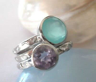 Sterling Silver 3 Rings Stack - Aqua Chalcedony & Amethyst Ring Stack - Size K