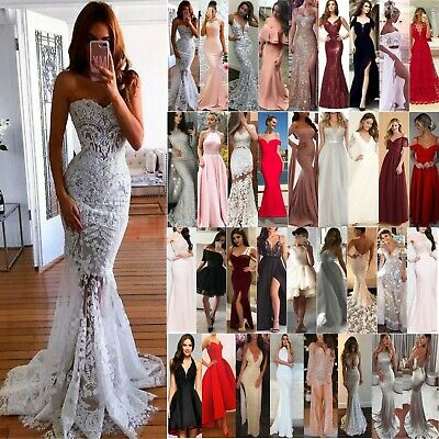 Womens Bridesmaid Wedding Dress Evening Party Ball Gown Prom Maxi Long Dresses