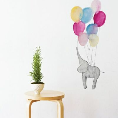 NEW Little Sticker Boy Elephant on Balloon Wall Decal