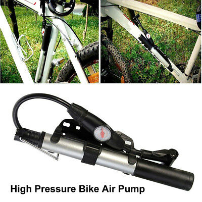 Portable High Pressure Alloy Bicycle Bike Air Pump +Gauge Presta & Schrader ARU