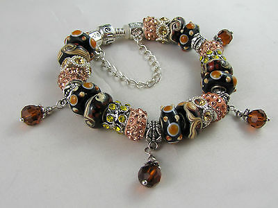 "BEAUTIFUL 925 STAMPED 20cm EUROPEAN STYLE CHARM BRACELET ""YESTERYEAR'S AUTUMN"""