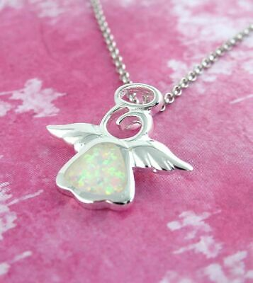 Guardian Angel Necklace Sterling Silver Lab Opal Cute Tiny w/ Quote Card wh71