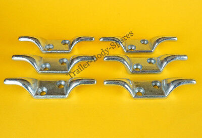 FREE UK Post - 6 x Bolt-on Double Rope Cleat Hook Trailer Cover Tie Down