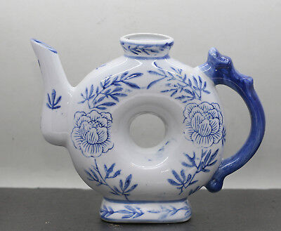 Vintage Chinese Porcelain Doughnut Shaped Wine Pot Hand Painted Dragon Handle