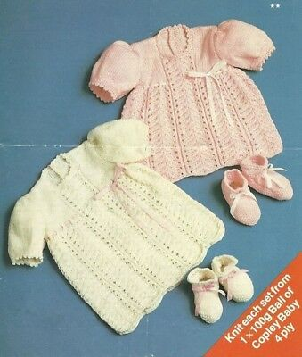 BABY Knitting Pattern copy in 4 Ply Dresses Bootees